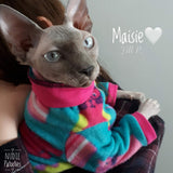 Long sleeve fleece shirt for your sphynx, bambino, Peterbald, Cornish Rex, Devon Rex, cat clothes, sphynx clothes