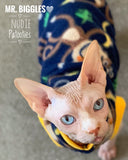 Nudie Patooties fleece shirt for your Sphynx, Peterbald, Cornish Rex, Devon Rex, and Bambino Cat!