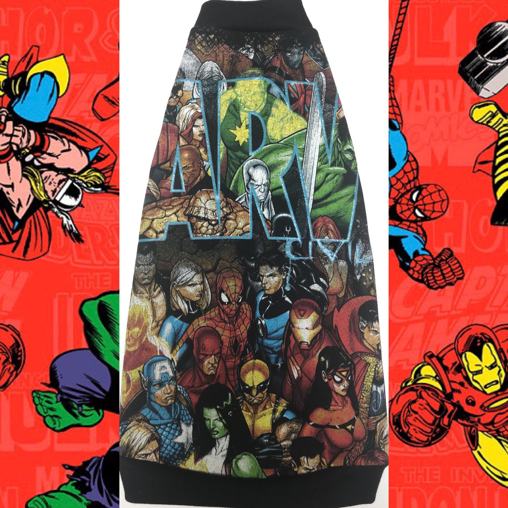 Black Marvel Comics - Nudie Patooties Sphynx Cat Fleece Clothes / clothes for cats/ cat overalls /cat shirt/ cat sweater/ cat sweatshirt/ pet sweater/ Sphynx cat clothes/ Sphynx clothing / cats clothes/ shirt for cat/ cat clothes/ tattoo/ skull/ designer cat clothes/ cat pjs.