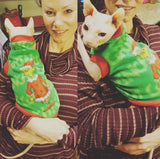"Christmas Grinch Fleece ""Merry Grinchmas"" - Nudie Patooties  Sphynx cat clothes for your sphynx cat, sphynx kitten, Donskoy, Bambino Cat, cornish rex, peterbald and devon rex cat."