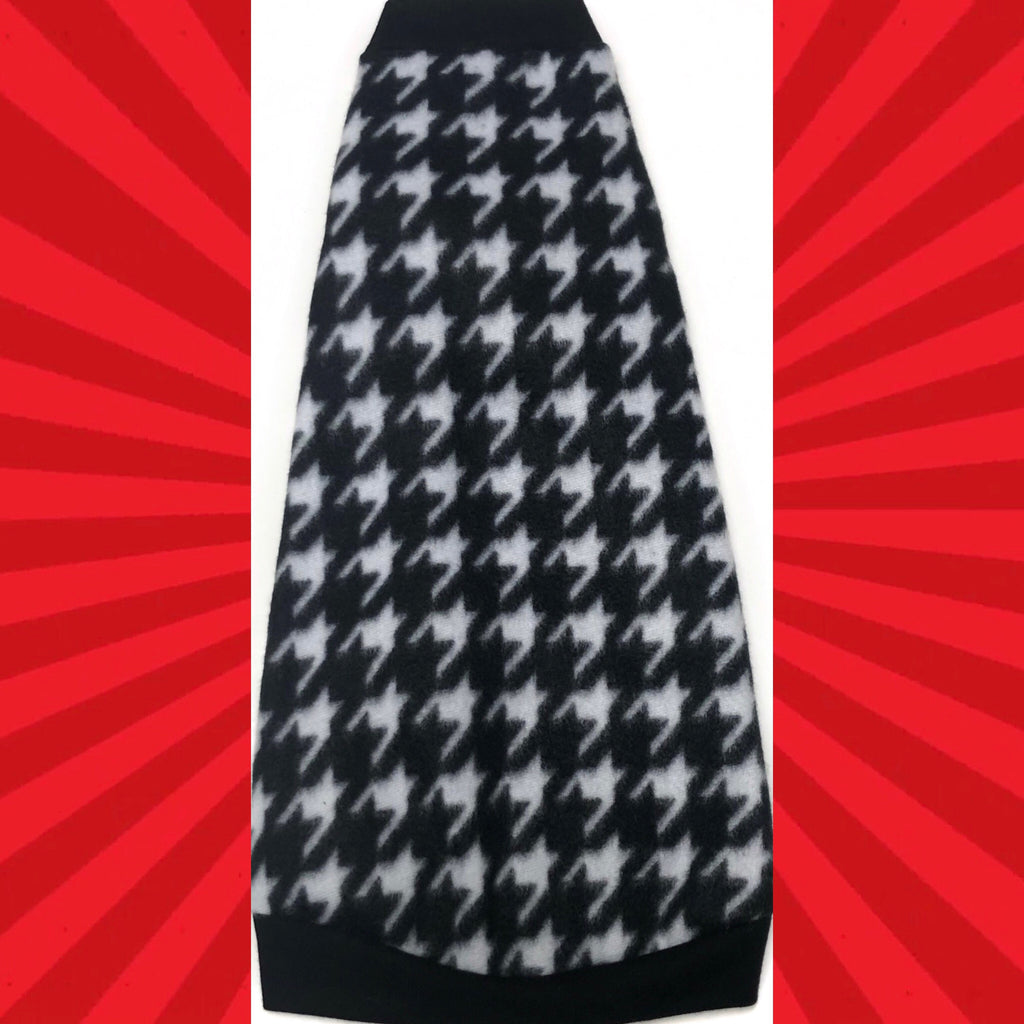 "Black and White Fleece ""Heart and Houndstooth"" - Nudie Patooties  Sphynx cat clothes for your sphynx cat, sphynx kitten, Donskoy, Bambino Cat, cornish rex, peterbald and devon rex cat."