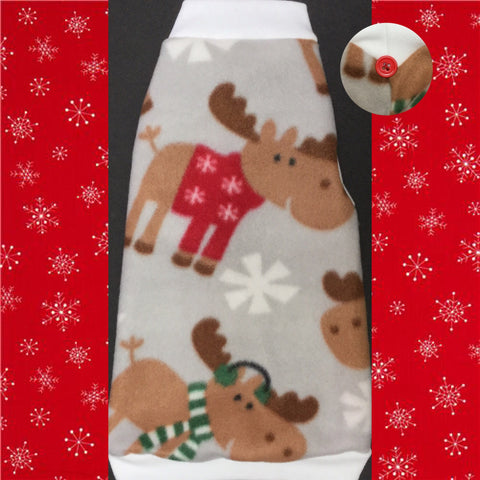 "Christmas Moose Fleece ""Merry ChrisMoose"" - Nudie Patooties  Sphynx cat clothes for your sphynx cat, sphynx kitten, Donskoy, Bambino Cat, cornish rex, peterbald and devon rex cat."