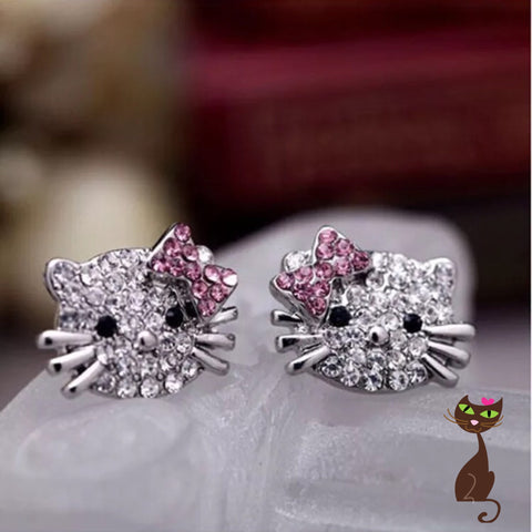 Cat Earrings with Bow