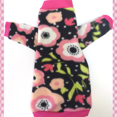 "Long Sleeve Pink Flower Fleece ""Pinky Flowers"""