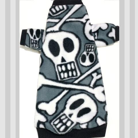 "Long Sleeve Black and White Skull Fleece ""Rock Da Bones!"""