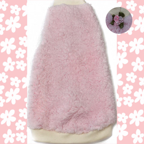 "Cream and Baby Pink Sherpa Faux Fur ""Counting Sheep"""