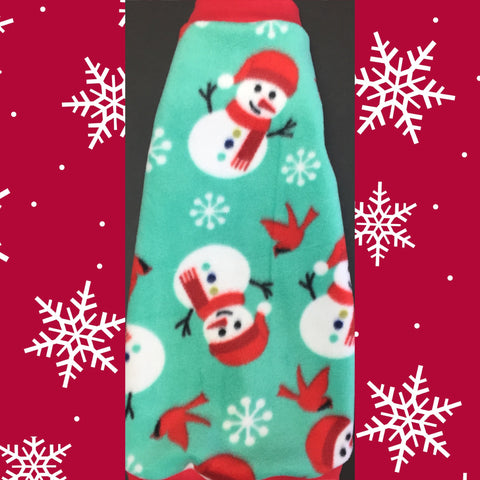 "Christmas Fleece ""Frosty the Snowman"" - Nudie Patooties  Sphynx cat clothes for your sphynx cat, sphynx kitten, Donskoy, Bambino Cat, cornish rex, peterbald and devon rex cat."