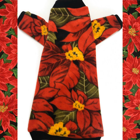 "Long Sleeve Christmas Poinsettia Fleece ""Holly Jolly"""