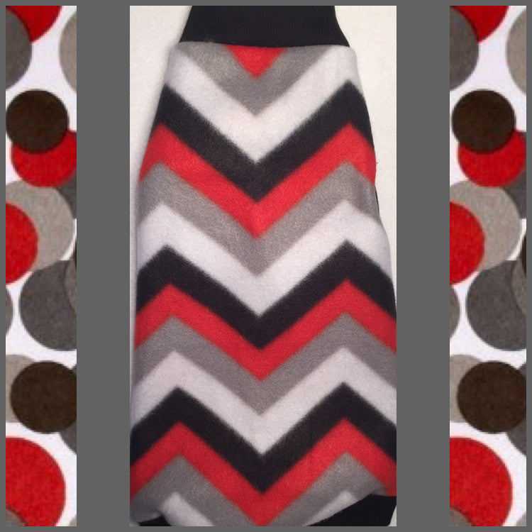 "Black, Red, and Grey Chevron Fleece ""Awesome and Bombdiggity"" - Nudie Patooties  Sphynx cat clothes for your sphynx cat, sphynx kitten, Donskoy, Bambino Cat, cornish rex, peterbald and devon rex cat."