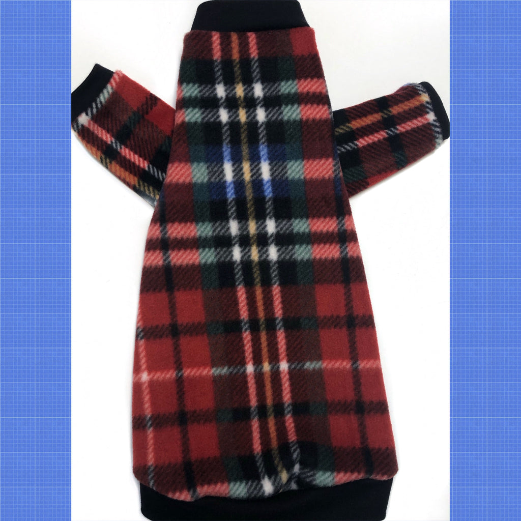"Long Sleeve Red English Plaid Fleece ""Abbey Road"""