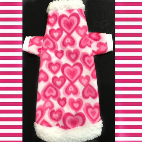 "Long Sleeve Pink and White Fleece w/ Sherpa Fur Trim ""Stealing Hearts"""