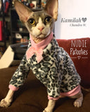 gray and white leopard long sleeve fleece with pink bow.  Nudie Patooties sphynx cat clothes