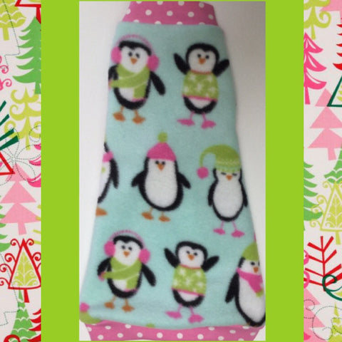"Christmas Pink Penguin Fleece ""On Santa's Cute List"" - Nudie Patooties  Sphynx cat clothes for your sphynx cat, sphynx kitten, Donskoy, Bambino Cat, cornish rex, peterbald and devon rex cat."