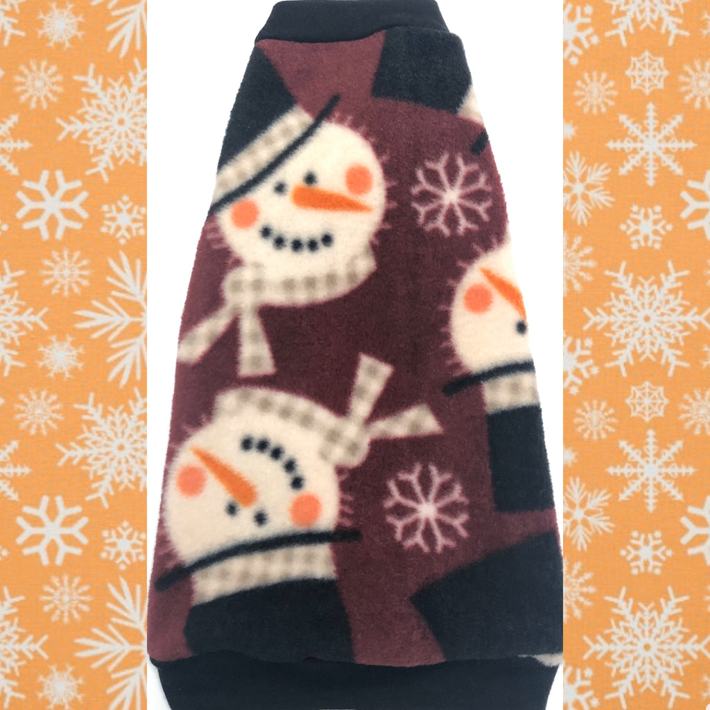 "Maroon Snowmen Christmas Fleece ""Feelin' Frosty"""