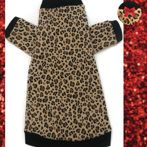 Long Sleeve Sparkle Leopard with Red Bow