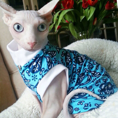 Organic Cotton Skull Shirt/ Sphynx Cat Fleece Clothes / clothes for cats/ cat overalls /cat shirt/ cat sweater/ cat sweatshirt/ pet sweater/ Sphynx cat clothes/ Sphynx clothing / cats clothes/ shirt for cat/ cat clothes/ tattoo/ skull/ designer cat clothes/ cat pjs
