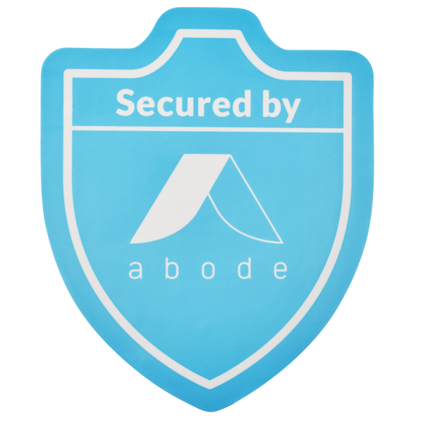 """Secured by abode"" Sticker (Rear mount)"