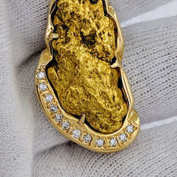 Large Natural Gold Nugget Diamond Pendant