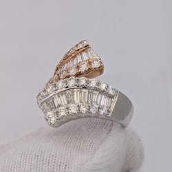 3.00ct Diamond Ring Rose Gold & White Gold 18kt