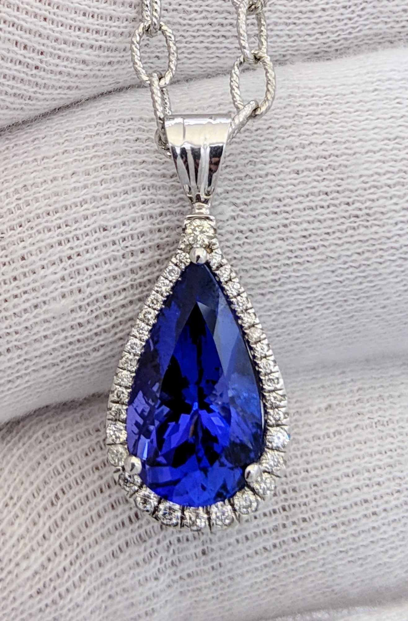 Tear Drop Tanzanite & Diamond Pendant 14kt White Gold