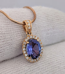 Tanzanite & Diamond Halo Pendant 14kt Rose Gold