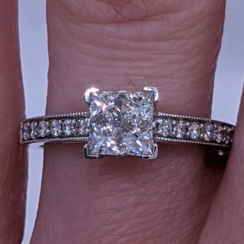 Princess Cut Diamond Ring Illusion Setting