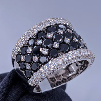 Large Black & White Diamond Cocktail Ring