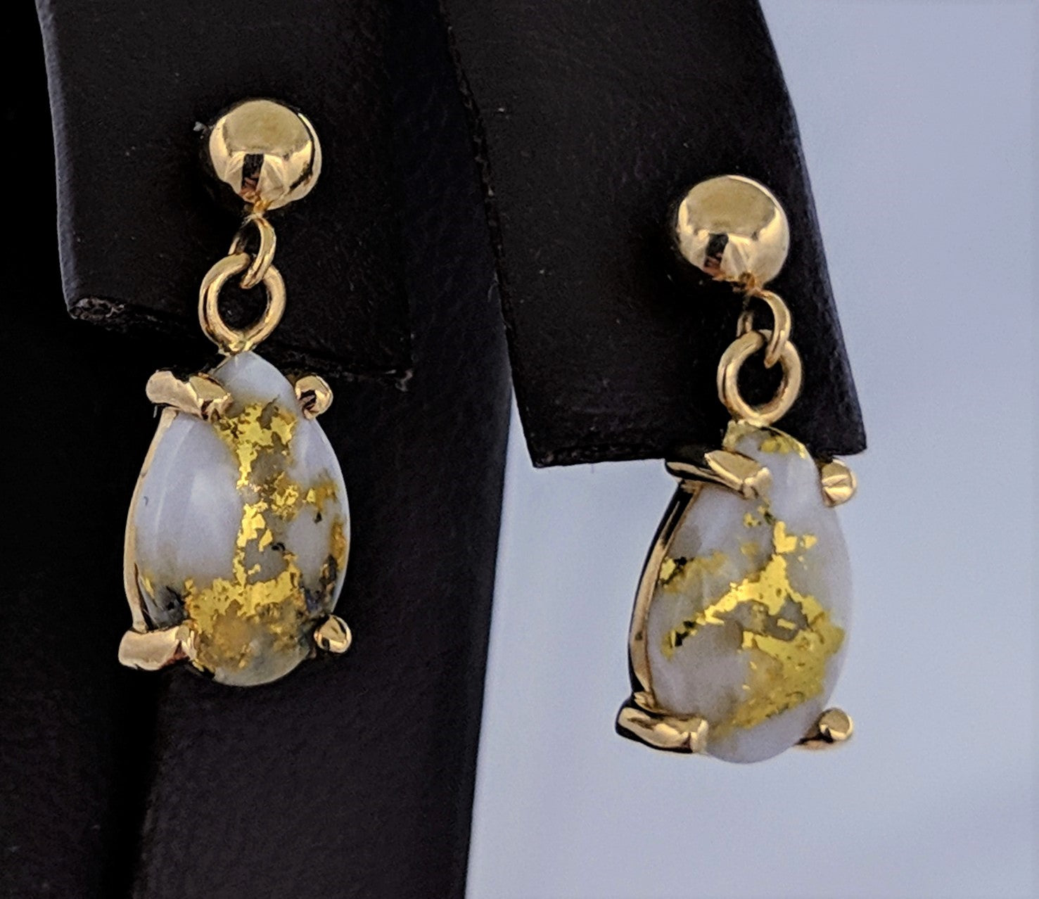 Natural Gold Quartz Earrings Tear Drop