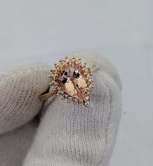 Pear Shape Morganite & Diamond Ring 14kt Rose Gold