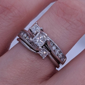 Princess Cut Diamond Ring Set With Wrap