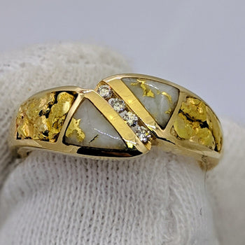 Natural Gold Quartz Gold Nugget & Diamond Ring