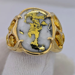 Huge Natural Gold Quartz & Gold Nugget Men's Ring