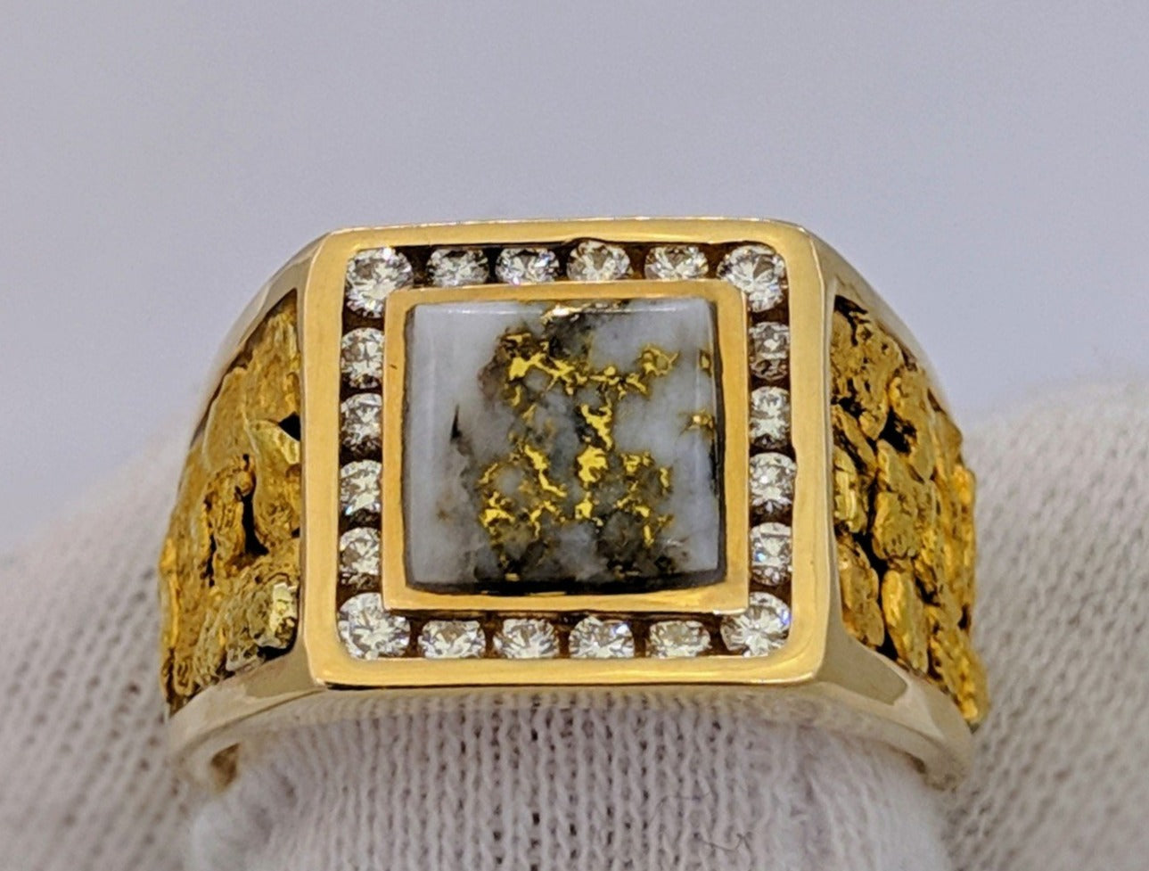 Natural Gold Quartz Gold Nugget & Diamond Mens Ring