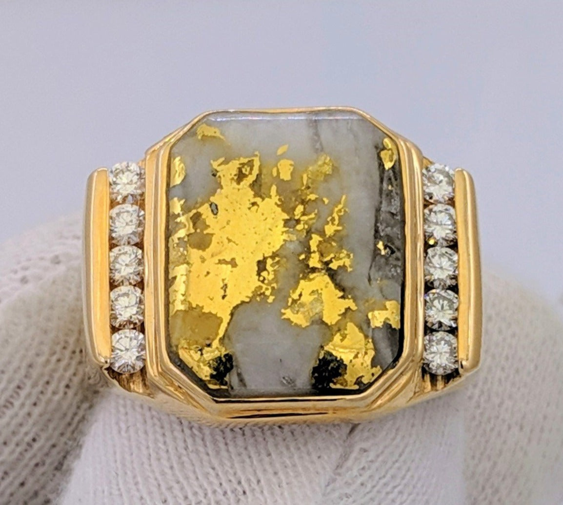 Large Natural Gold Quartz & Diamond Men