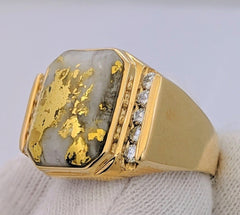 Large Natural Gold Quartz & Diamond Men's Ring