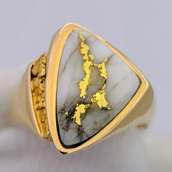 Natural Gold Quartz & Gold Nugget Ring