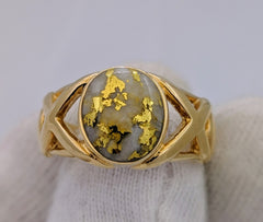 Natural Gold Quartz Men's Ring