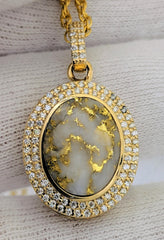 Natural Gold Quartz Double Halo Diamond Pendant