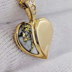 Natural Gold Quartz & Diamond Heart Shape Pendant