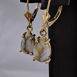 Tear Drop Natural Gold Quartz Dangle Earrings