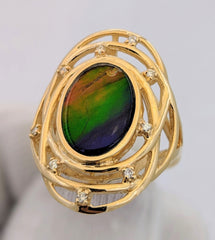 Large Ammolite Ring 14kt Gold