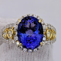 Tanzanite Canary Yellow Diamond Ring 18kt Gold