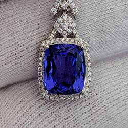 Tanzanite & Diamond Pendant 14kt White Gold