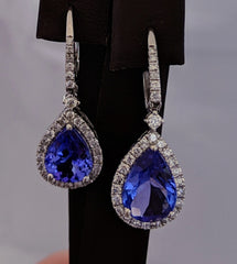 Tanzanite Tear Drop Diamond Earrings 14kt White Gold