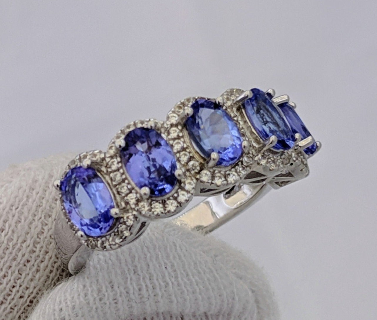 5 Stone Tanzanite Halo Ring Silver