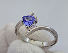 Tanzanite Solitaire Ring Silver