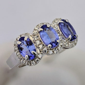 3 Stone Tanzanite Halo Ring Silver