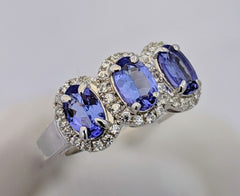 3-Stone Tanzanite Halo Ring Silver