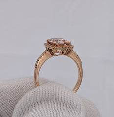 Cushion Cut Morganite & Diamond Ring 10kt Rose Gold