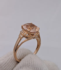 Oval Cut Morganite & Diamond Ring 10kt Rose Gold